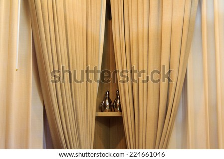 Luxury Curtain With Wooden Shelf - stock photo