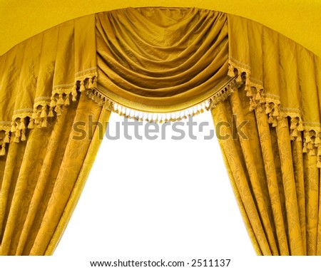 Luxury curtains with free space in the middle - stock photo