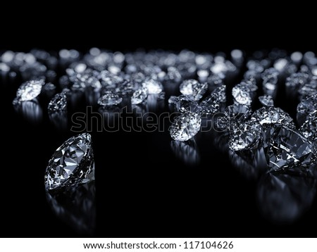 Luxury 3D diamonds render on black backgorund with DOF - stock photo