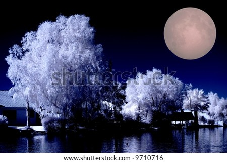 Luxury desert lake homes in infrared color with the full moon rising - stock photo