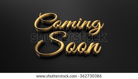 Luxury Design 3d Gold Coming Soon on Black Leather  - stock photo