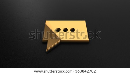 Luxury Design 3d Gold Message Icon on Black Leather  - stock photo