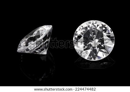 Luxury diamonds on black backgrounds - stock photo
