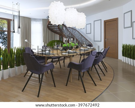 Luxury dining room in a contemporary style with a large dining table for eight people. Luxury white chandelier hanging over the table of opaque plastic. 3D render. - stock photo