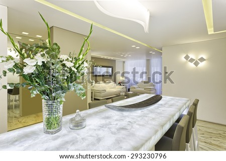 Luxury Dining Room in Modern Home - stock photo