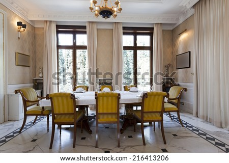 Luxury dining room interior - stock photo