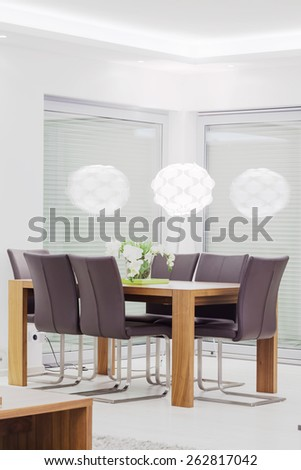 Luxury dining room interior in modern style - stock photo