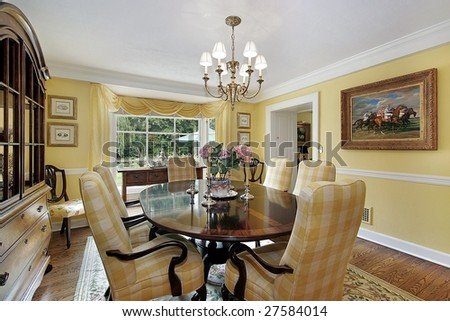 Luxury dining room with yellow tones