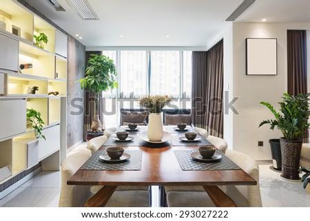 luxury dinning room interior - stock photo