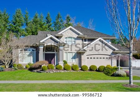 Stucco Stone House Pillars Bright Blue Stock Photo 1625352