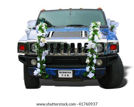 Luxury dream wedding car blue ornate over white - stock photo