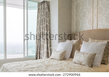 Luxury elegance bedroom close up with pillow. - stock photo