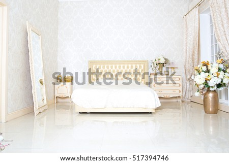 gold interior bedroom soft light colors big comfortable stock photo 358050455
