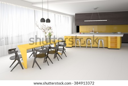 Luxury elegant yellow and grey kitchen and dining room interior with a spacious open plan room with fitted cabinets and appliances, a bar counter and stylish table and chairs. 3d Rendering. - stock photo