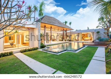 Merveilleux Luxury Exterior Design Pool Villa With Interior Design Living Room