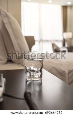 Luxury Five Star Hotel Bedroom Water On Table