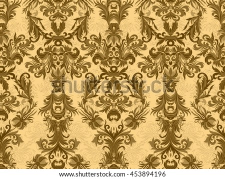 Luxury floral damask wallpaper. Seamless pattern background.  illustration, Golden brown tone ornate pattern on beige backdrop. - stock photo