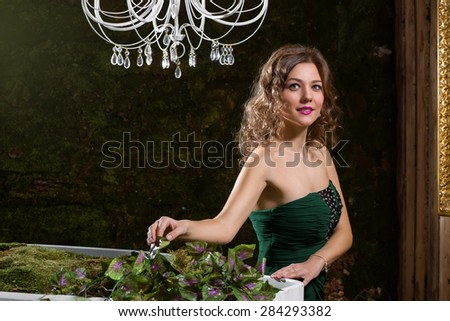 Luxury girl in a green dress, smiling - stock photo