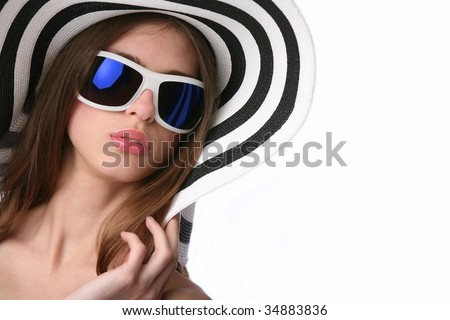 luxury girl in striped hat and sunglasses - stock photo