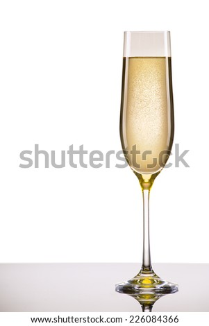 luxury glass of champagne very festive background