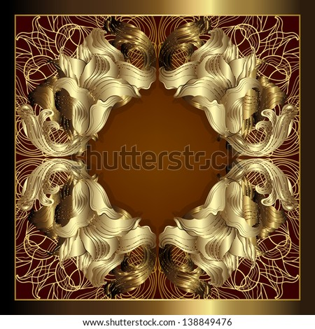 Luxury gold frame. Raster copy of vector image - stock photo