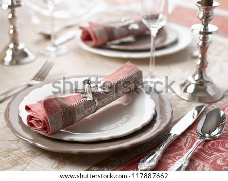Luxury holiday place (table) setting - stock photo