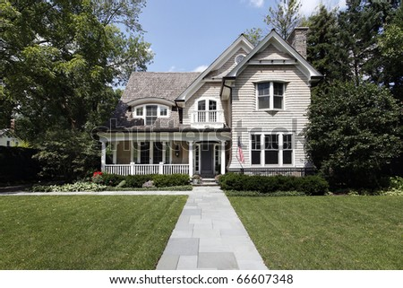 Luxury home in suburbs with cedar roof - stock photo