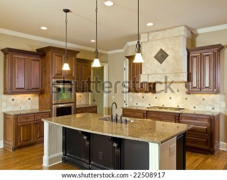 Luxury Home Interior Kitchen Center Island Stock Photo 22508917 ...