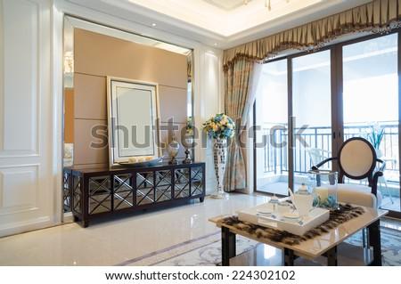 luxury home interior with nice decoration - stock photo