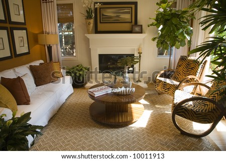Luxury home living room. - stock photo