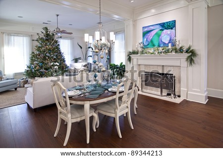 luxury home or apartment decorated for christmas dinner - stock photo
