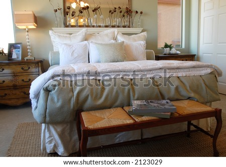 Luxury Hotel Bedroom - stock photo