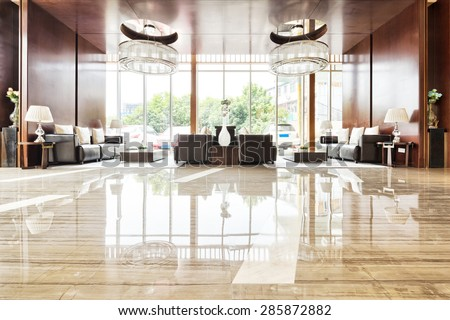luxury hotel lobby and furniture - stock photo