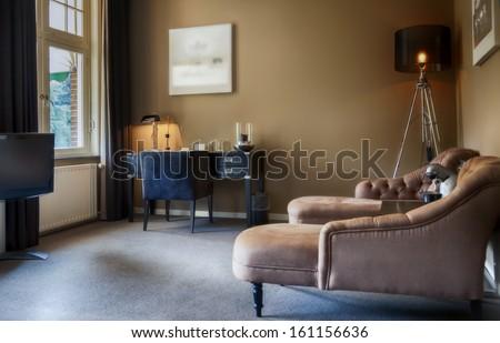 luxury hotel lounge room  - stock photo