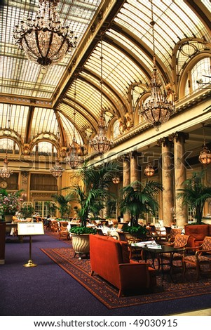 Luxury hotel restaurant interior, day time, San Francisco