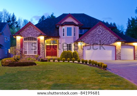 Luxury house at dusk in Vancouver, Canada. - stock photo