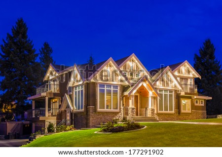 Luxury House At Night In Vancouver Canada Stock Photo