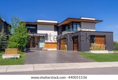 Luxury house at sunny day in Calgary, Canada. - stock photo