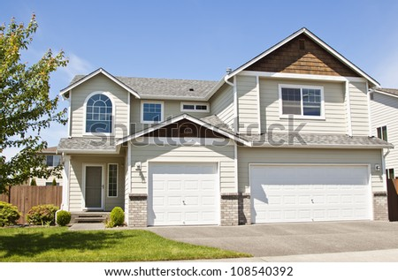 luxury house over blue sky and outdoor landscape - stock photo