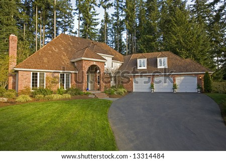 Luxury house viewed from the front - stock photo