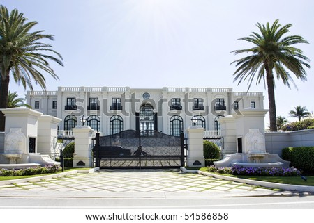luxury house with palms - stock photo
