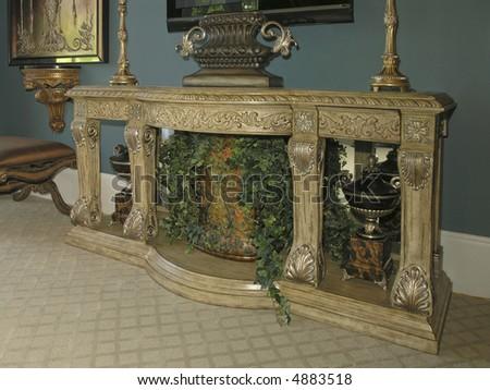 Luxury House with regal elegant decorative mantle - stock photo