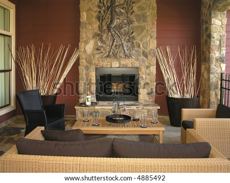 Luxury House with regal elegant living room - stock photo
