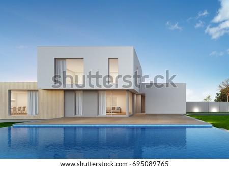 Luxury house swimming pool terrace modern ภาพประกอบสต็อก 695089765