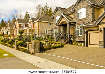Luxury houses in Vancouver, Canada. - stock photo