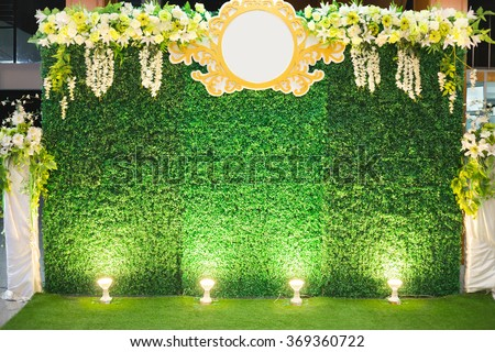 Luxury Indoors Wedding Stage Decorate. backdrop and blank background for input text and symbol - stock photo
