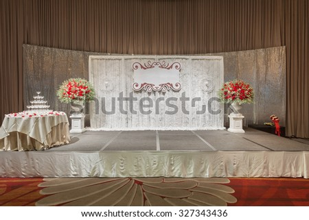 Luxury indoors wedding stage decorate with champagne tower. - stock photo