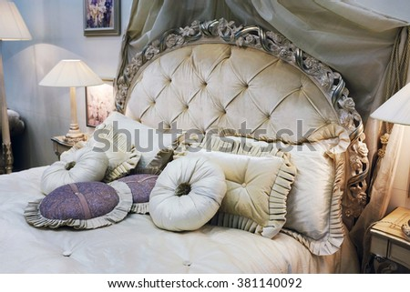 Luxury Interior.Antique Vintage Bed
