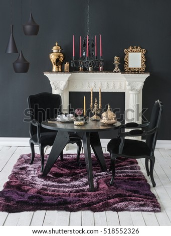 Luxury Interior Decor Black Wall And Fireplace Chair Gold Frame Classic Dining Room Style