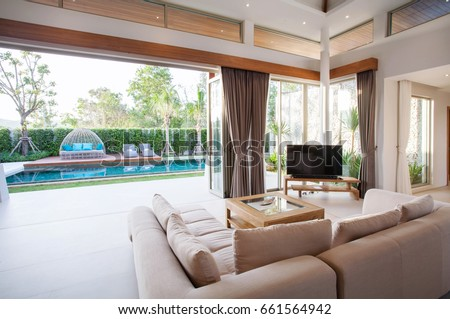 Luxury Interior Design In Living Room Of Pool Villas. Airy And Bright Space  With High Part 68